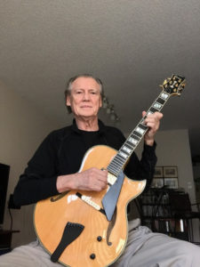 Harry Trombley with Natural Blonde Conti Heirloom Archtop Guitar