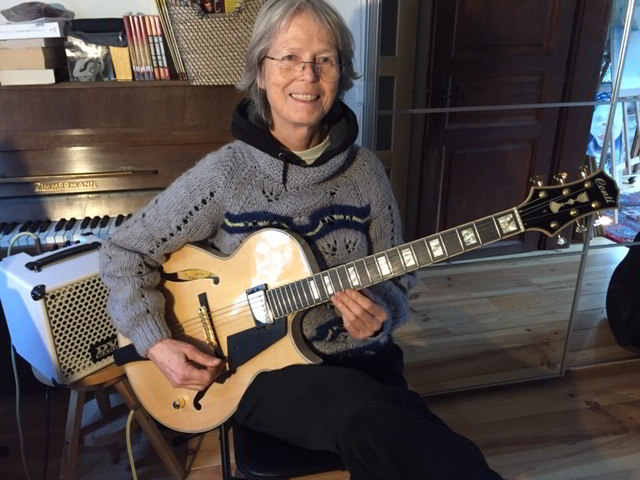 Christiane Seguy with her Nautral Blonde Conti Entrada Archtop