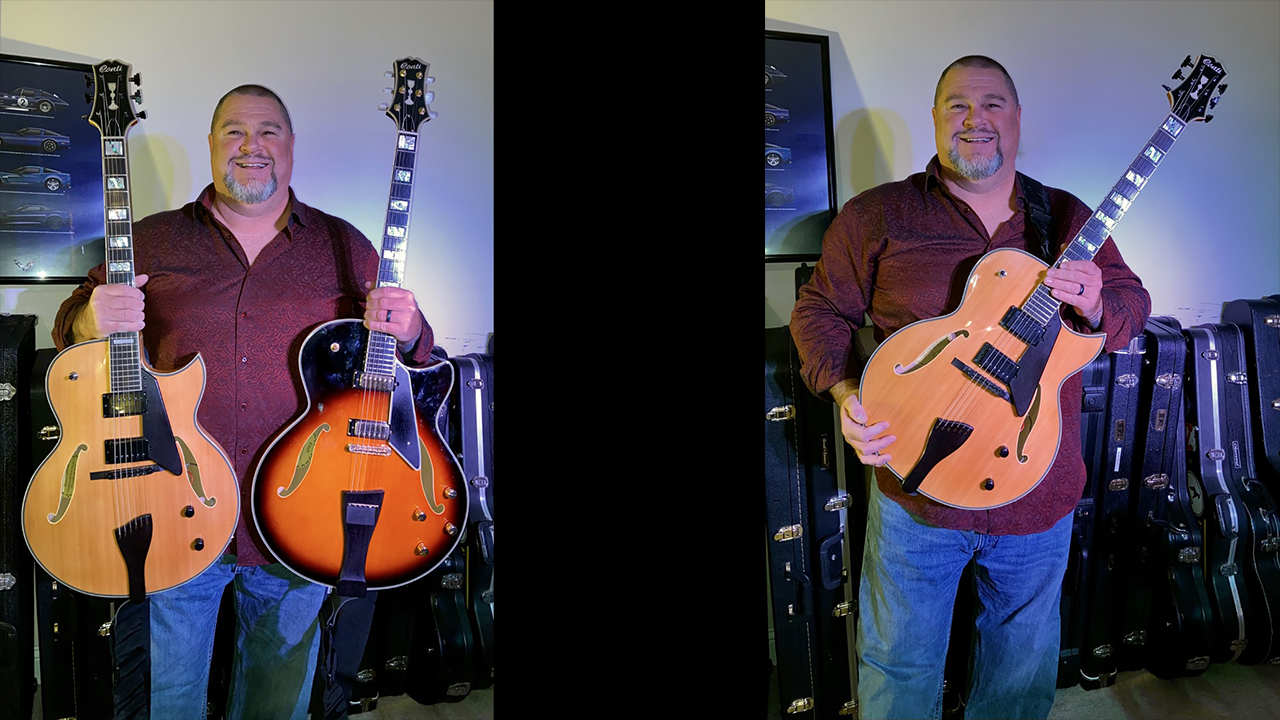 Scott Verville with his two Conti Archtop Guitars