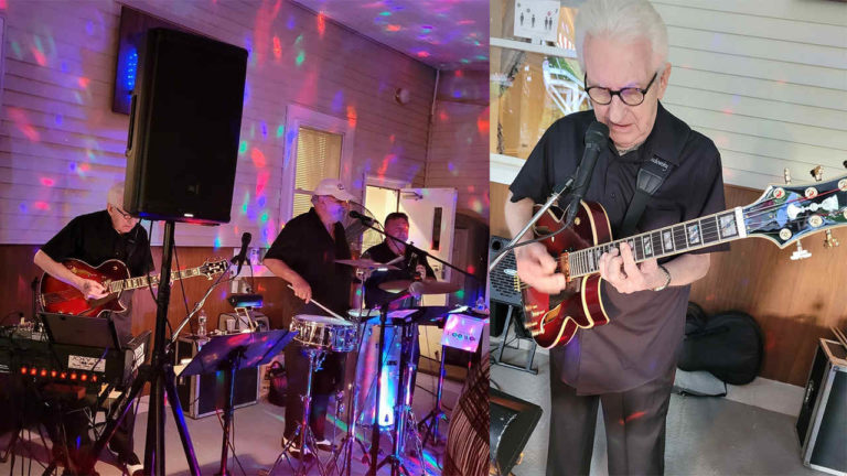 Bob Warren with his Conti Entrada archtop, on the gig!