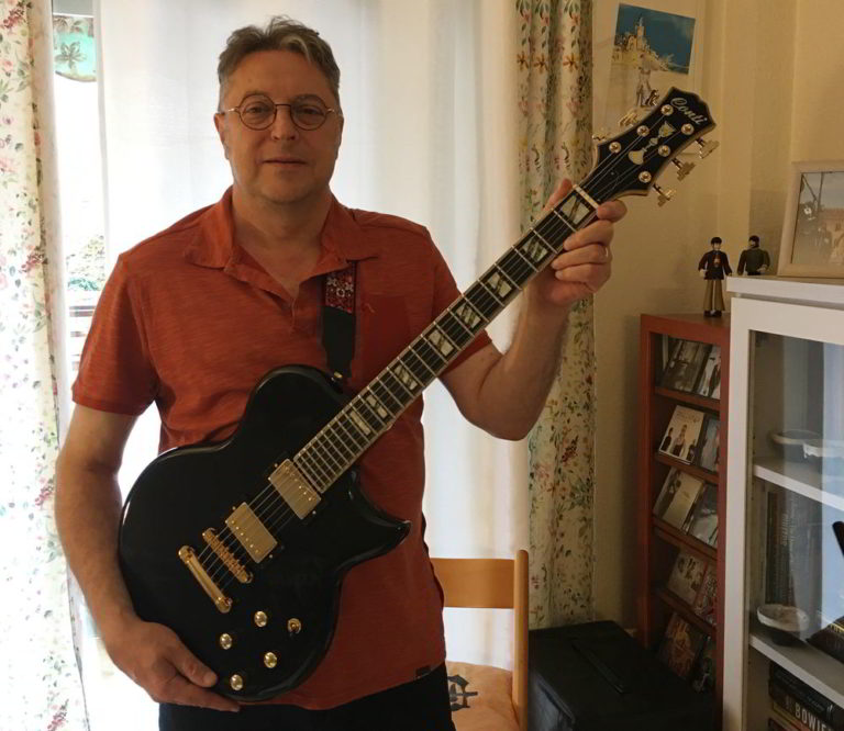 Carles Vidal of Barcelona, Spain with his new Black Conti Solid Body Prototype Guitar